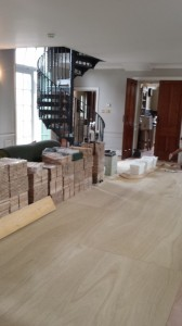 Quarter sawn Oak ply lined sub floor blocks acclimatising ready for installation (1)